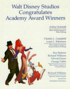 Walt Disney Studios congratulation advertisement to WFRR Oscar winners