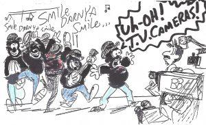 Tom Sito gag drawing about singing 'Smile Darn ya, Smile'